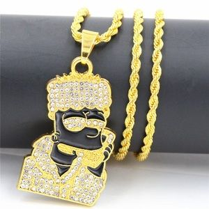 14k BART SIMPSON ICED OUT GOLD CHAIN